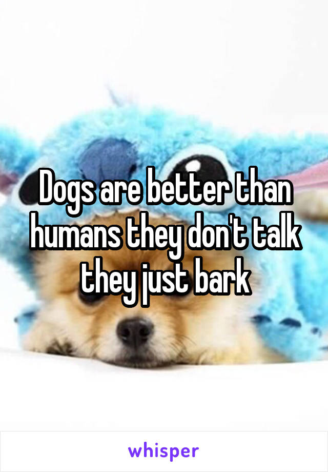 Dogs are better than humans they don't talk they just bark