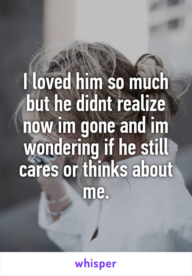 I loved him so much but he didnt realize now im gone and im wondering if he still cares or thinks about me.