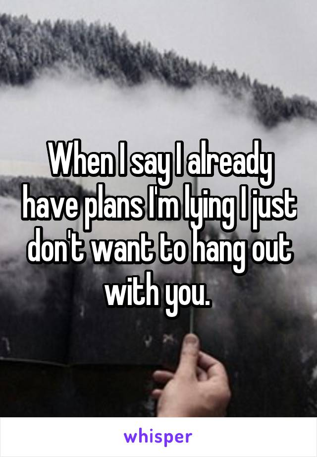 When I say I already have plans I'm lying I just don't want to hang out with you.