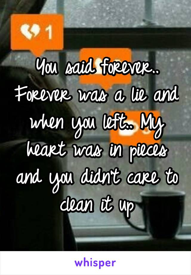 You said forever.. Forever was a lie and when you left.. My heart was in pieces and you didn't care to clean it up