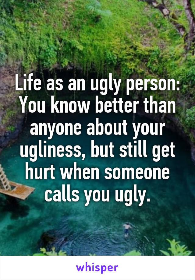 Life as an ugly person: You know better than anyone about your ugliness, but still get hurt when someone calls you ugly.