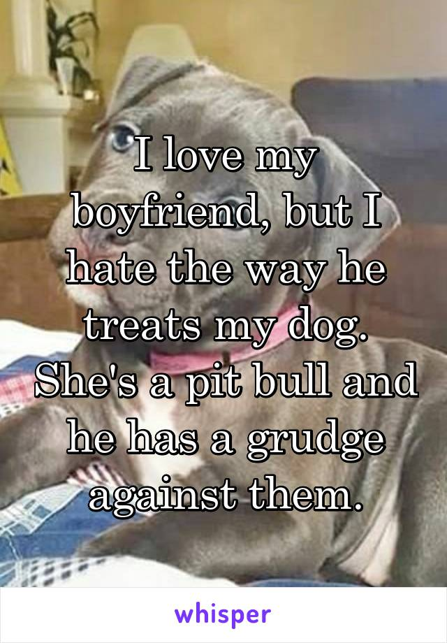 I love my boyfriend, but I hate the way he treats my dog. She's a pit bull and he has a grudge against them.