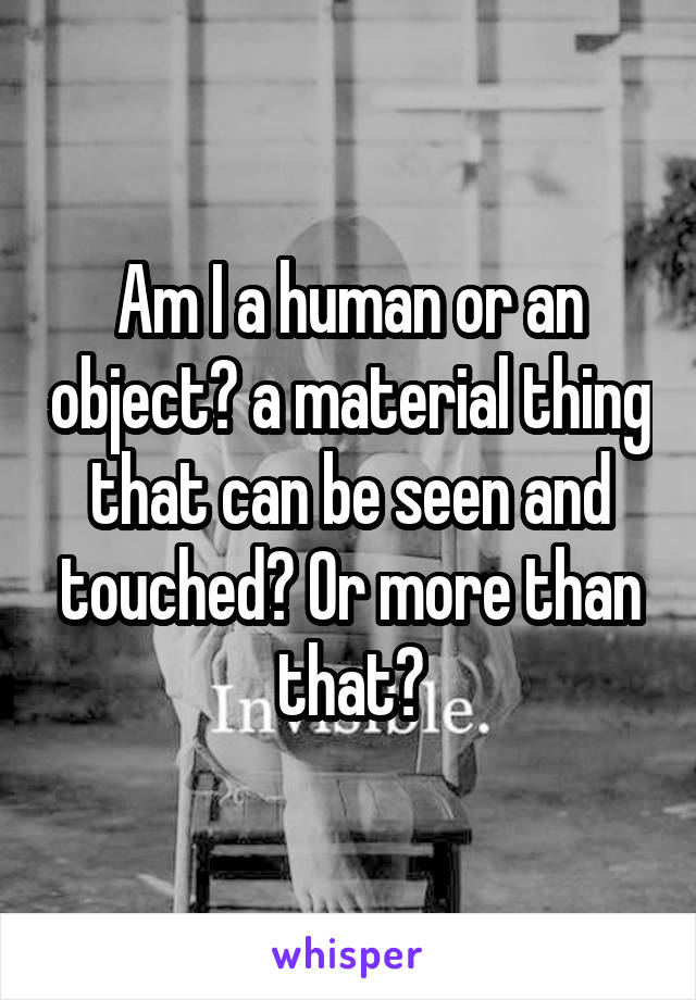 Am I a human or an object? a material thing that can be seen and touched? Or more than that?