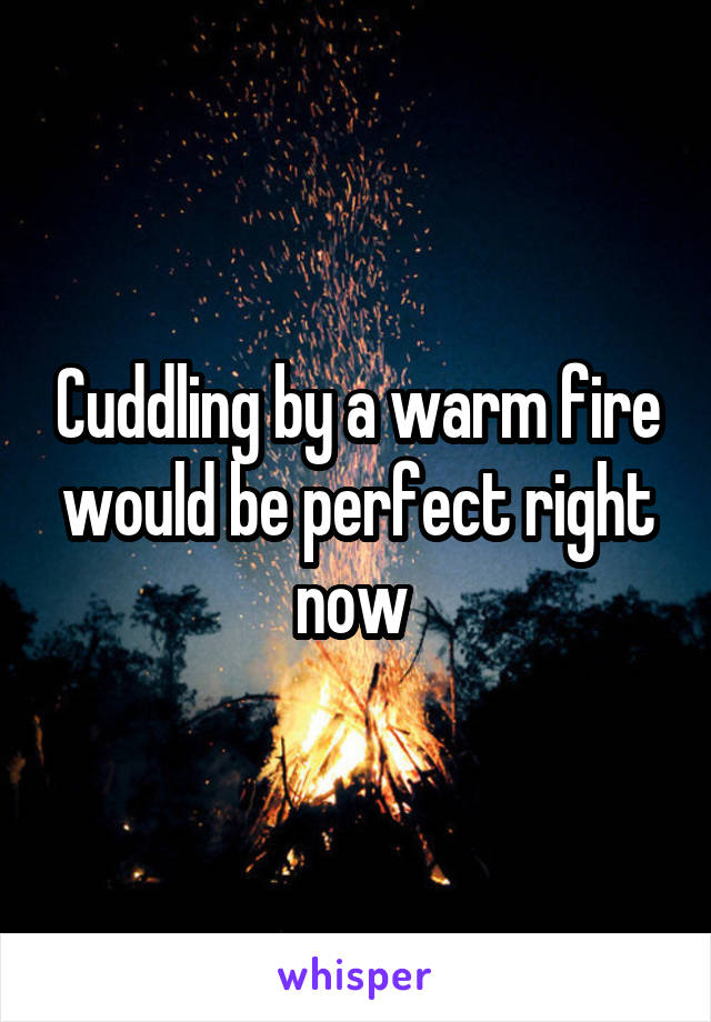 Cuddling by a warm fire would be perfect right now
