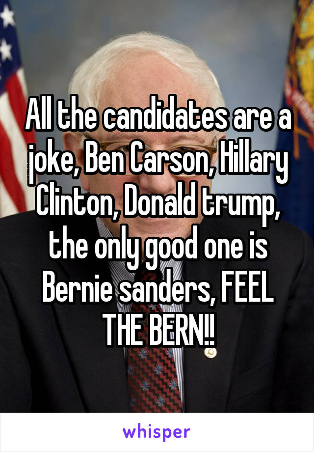 All the candidates are a joke, Ben Carson, Hillary Clinton, Donald trump, the only good one is Bernie sanders, FEEL THE BERN!!