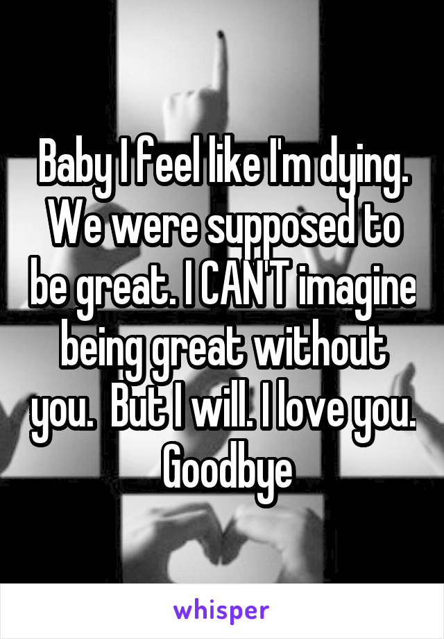 Baby I feel like I'm dying. We were supposed to be great. I CAN'T imagine being great without you.  But I will. I love you.  Goodbye