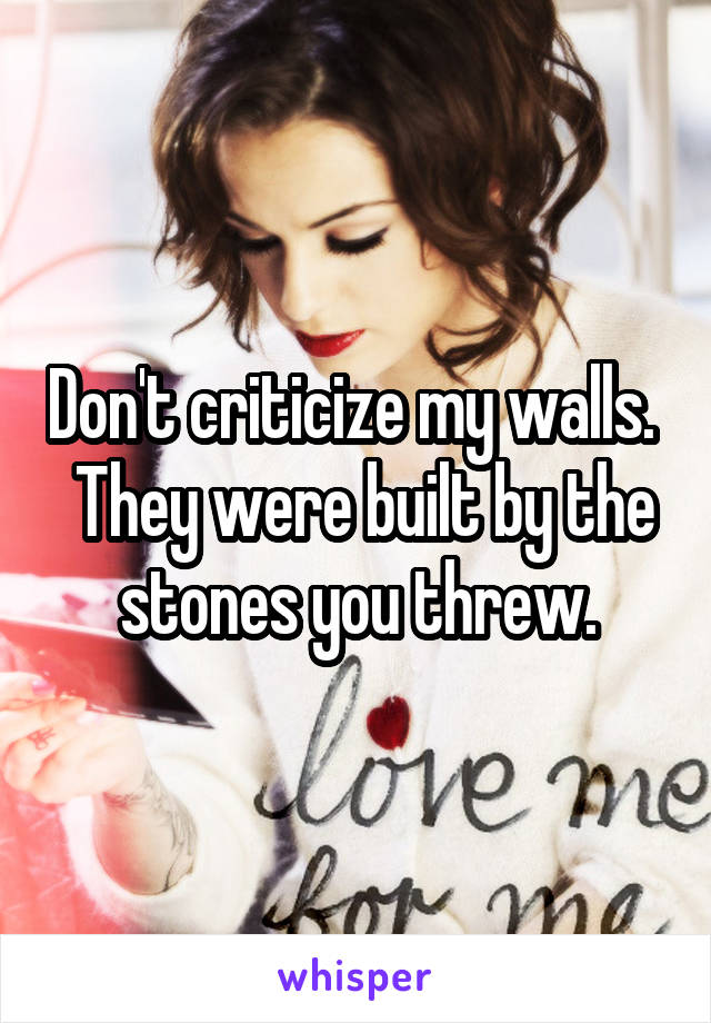 Don't criticize my walls.   They were built by the stones you threw.