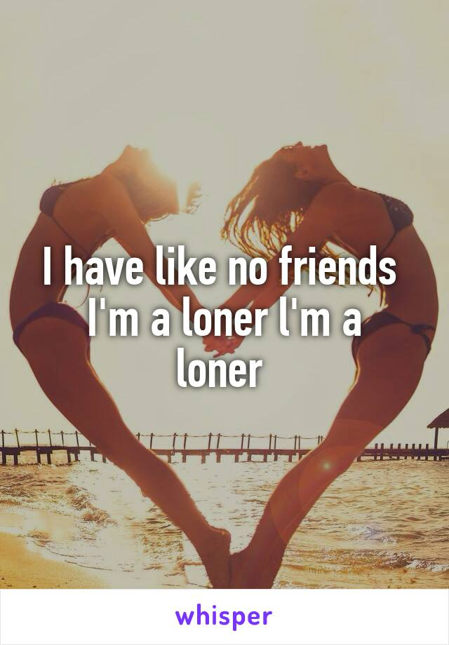I have like no friends  I'm a loner l'm a loner