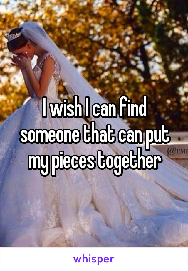 I wish I can find someone that can put my pieces together