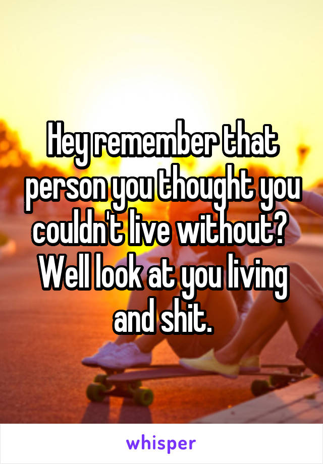 Hey remember that person you thought you couldn't live without?  Well look at you living and shit.