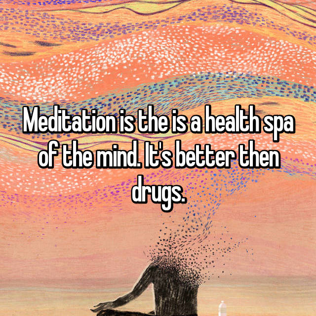 Meditation is the is a health spa of the mind. It's better then drugs.