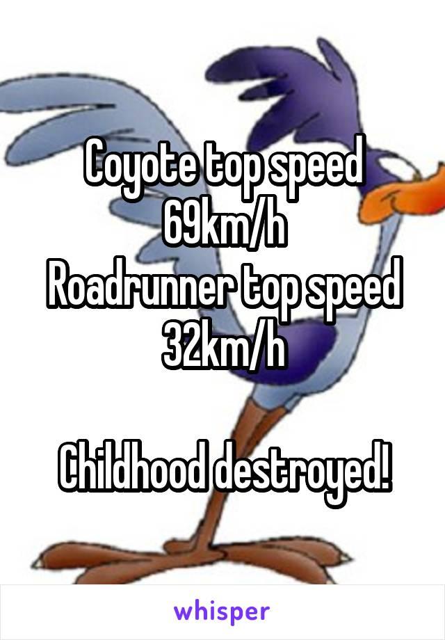 Coyote top speed 69km/h Roadrunner top speed 32km/h Childhood destroyed!