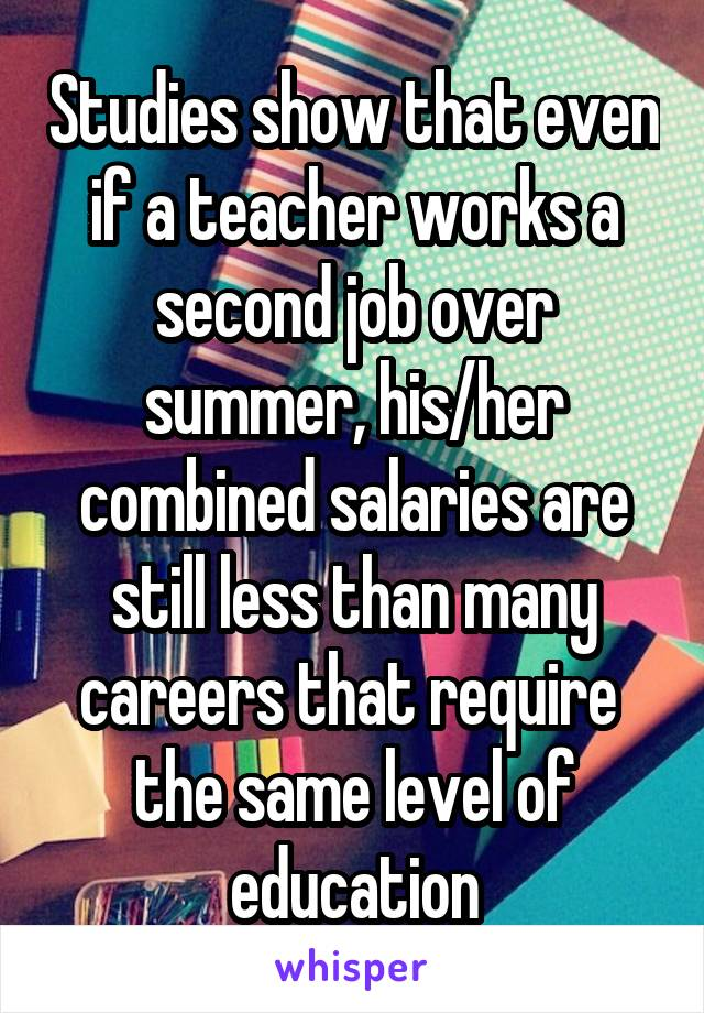Studies show that even if a teacher works a second job over summer, his/her combined salaries are still less than many careers that require  the same level of education