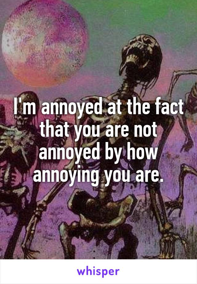 I'm annoyed at the fact that you are not annoyed by how annoying you are.