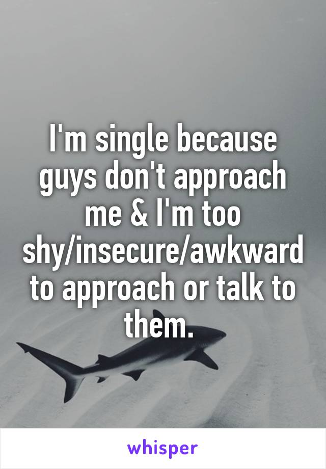 I M Single Because Guys Don T Approach Me I M Too Shy Insecure Awkward