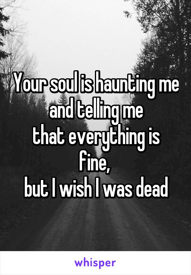 Your soul is haunting me and telling me that everything is fine,  but I wish I was dead