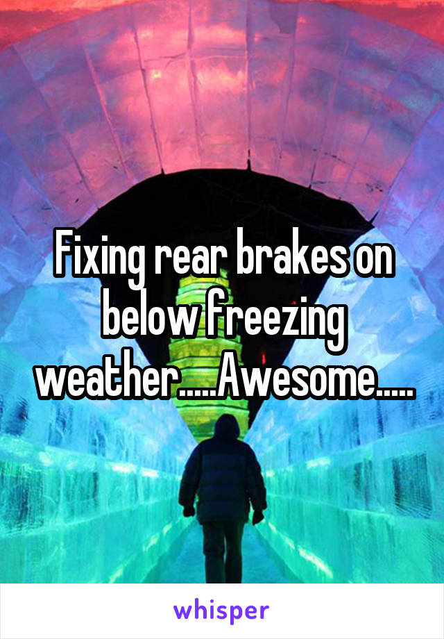 Fixing rear brakes on below freezing weather.....Awesome.....