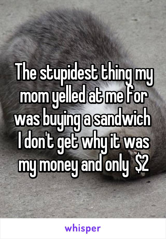 The stupidest thing my mom yelled at me for was buying a sandwich  I don't get why it was my money and only  $2