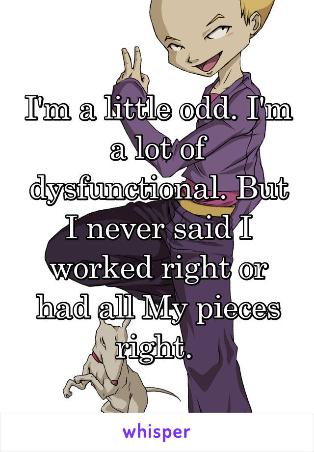 I'm a little odd. I'm a lot of dysfunctional. But I never said I worked right or had all My pieces right.