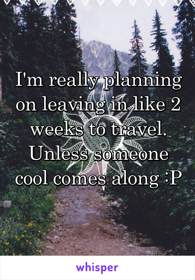I'm really planning on leaving in like 2 weeks to travel. Unless someone cool comes along :P
