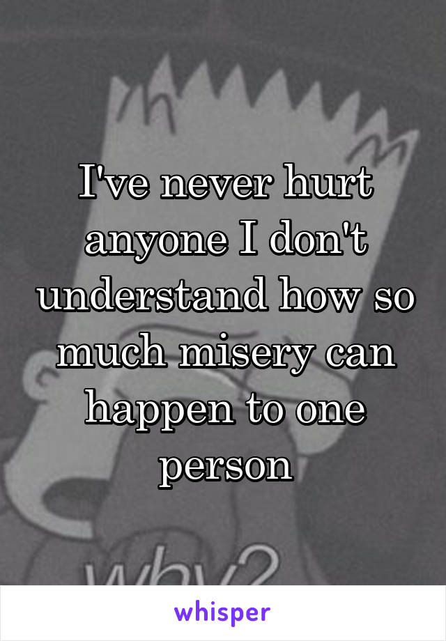 I've never hurt anyone I don't understand how so much misery can happen to one person