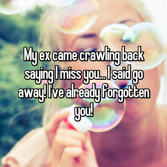 My ex came crawling back saying I miss you... I said go away! I've already forgotten you!