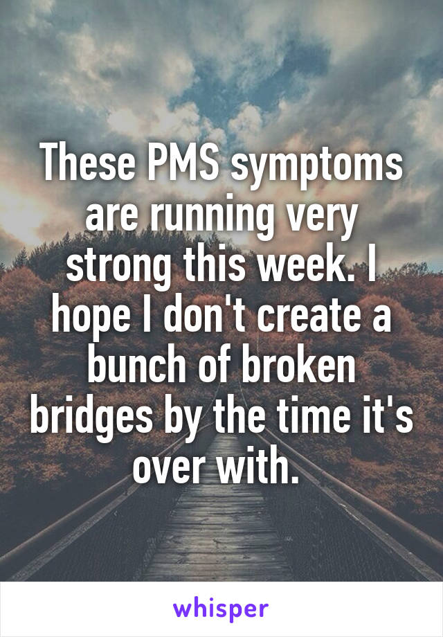 These PMS symptoms are running very strong this week. I hope I don't create a bunch of broken bridges by the time it's over with.