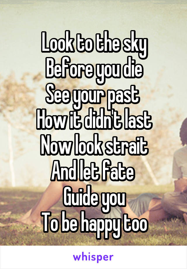 Look to the sky Before you die See your past  How it didn't last Now look strait And let fate  Guide you To be happy too