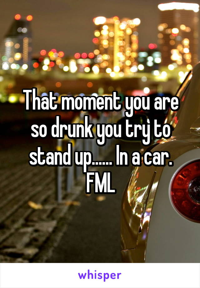 That moment you are so drunk you try to stand up...... In a car. FML