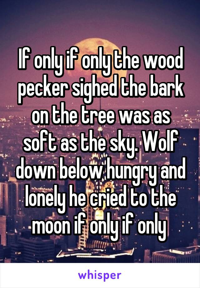 If only if only the wood pecker sighed the bark on the tree was as soft as the sky. Wolf down below hungry and lonely he cried to the moon if only if only