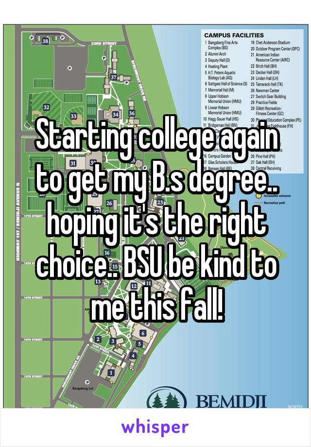 Starting college again to get my B.s degree.. hoping it's the right choice.. BSU be kind to me this fall!