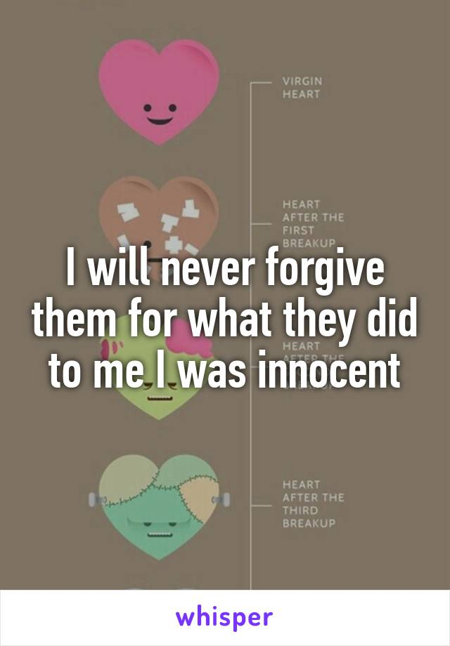 I will never forgive them for what they did to me I was innocent