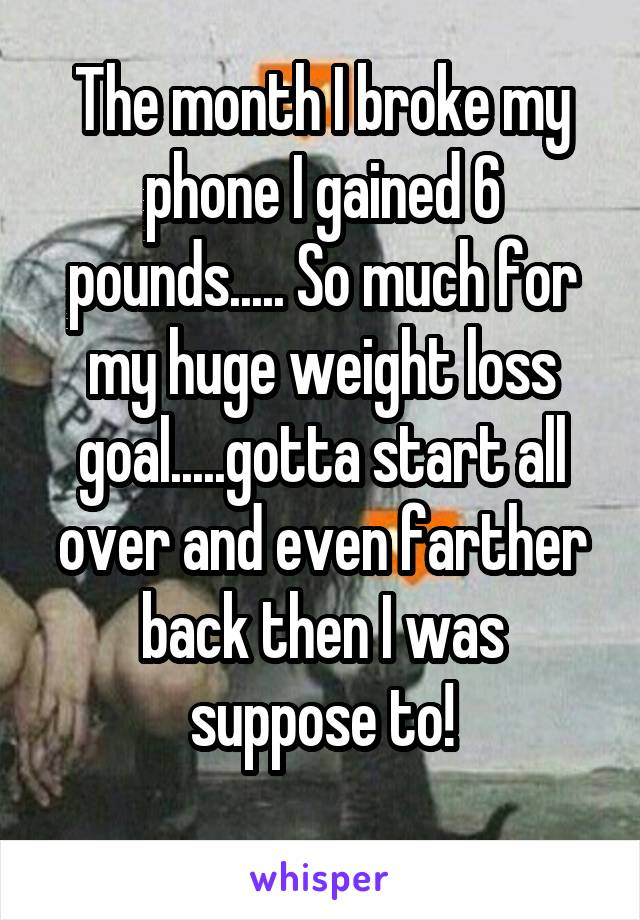 The month I broke my phone I gained 6 pounds..... So much for my huge weight loss goal.....gotta start all over and even farther back then I was suppose to!