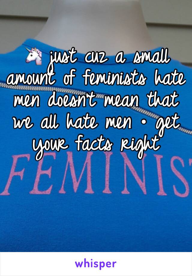 🦄 just cuz a small amount of feminists hate men doesn't mean that we all hate men • get your facts right