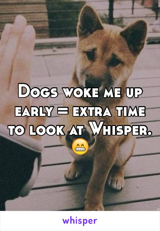Dogs woke me up early = extra time to look at Whisper. 😁