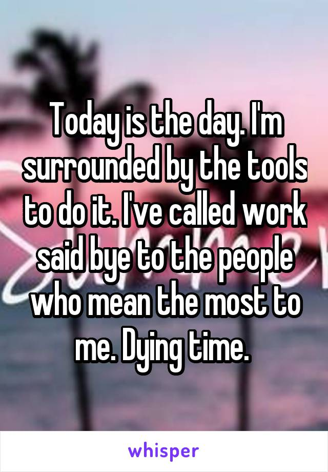 Today is the day. I'm surrounded by the tools to do it. I've called work said bye to the people who mean the most to me. Dying time.