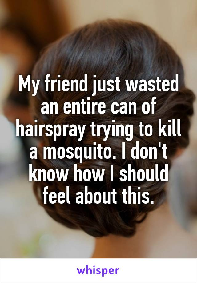 My friend just wasted an entire can of hairspray trying to kill a mosquito. I don't know how I should feel about this.