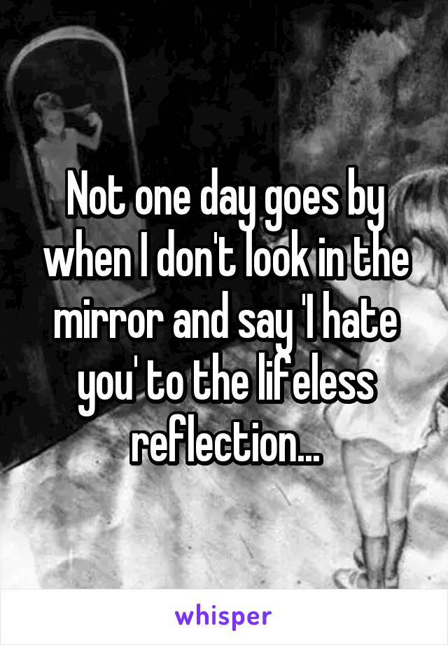 Not one day goes by when I don't look in the mirror and say 'I hate you' to the lifeless reflection...