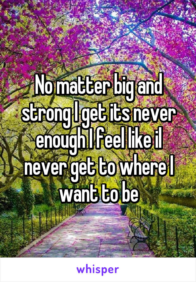 No matter big and strong I get its never enough I feel like il never get to where I want to be