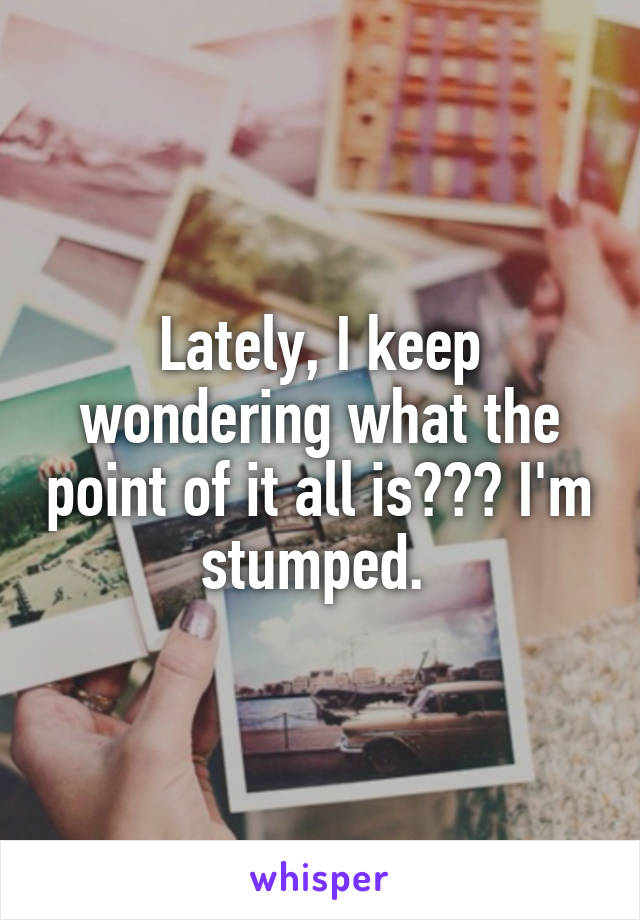 Lately, I keep wondering what the point of it all is??? I'm stumped.