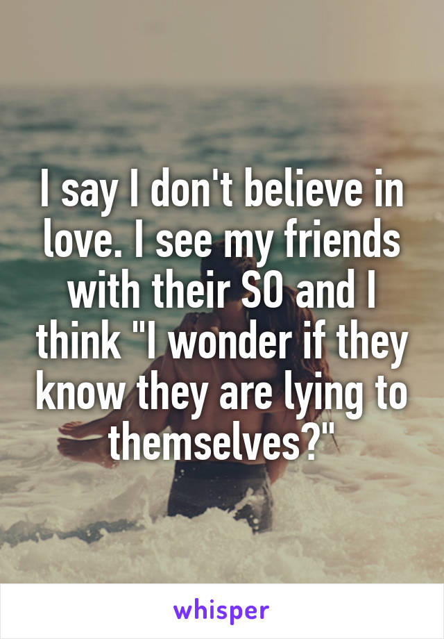 "I say I don't believe in love. I see my friends with their SO and I think ""I wonder if they know they are lying to themselves?"""
