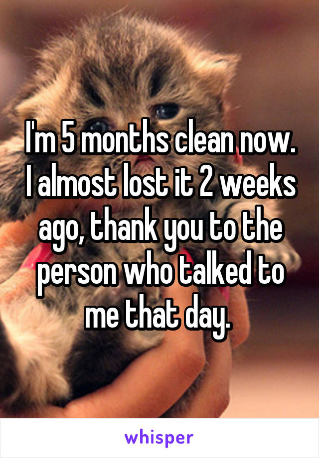 I'm 5 months clean now. I almost lost it 2 weeks ago, thank you to the person who talked to me that day.