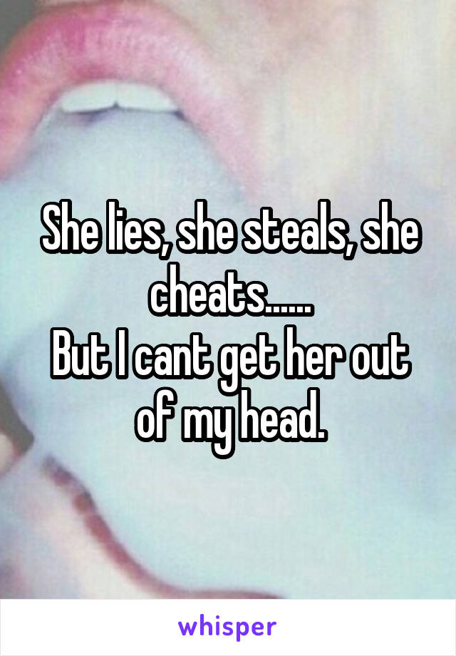 She lies, she steals, she cheats...... But I cant get her out of my head.