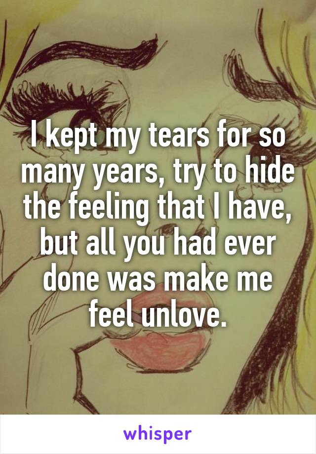 I kept my tears for so many years, try to hide the feeling that I have, but all you had ever done was make me feel unlove.