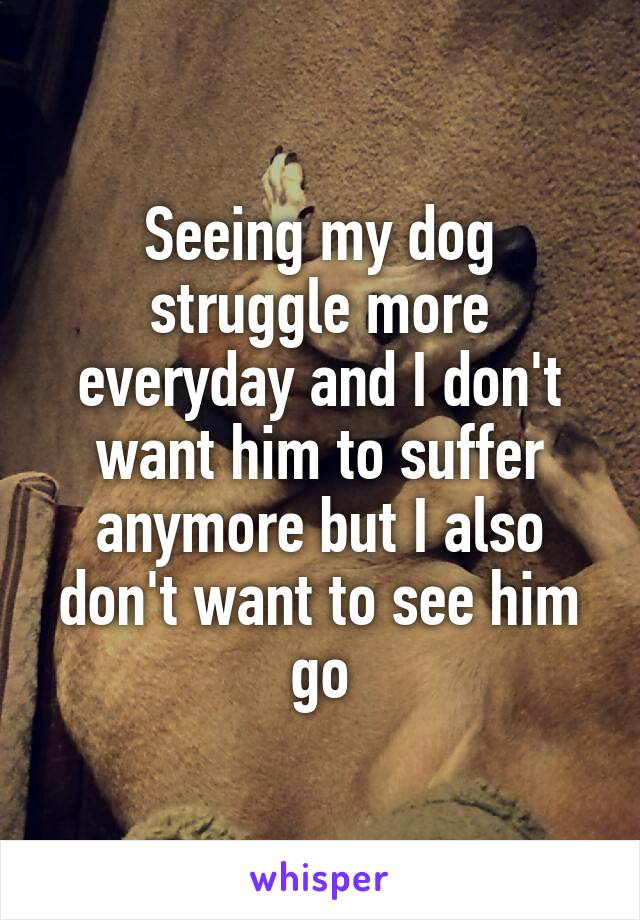 Seeing my dog struggle more everyday and I don't want him to suffer anymore but I also don't want to see him go