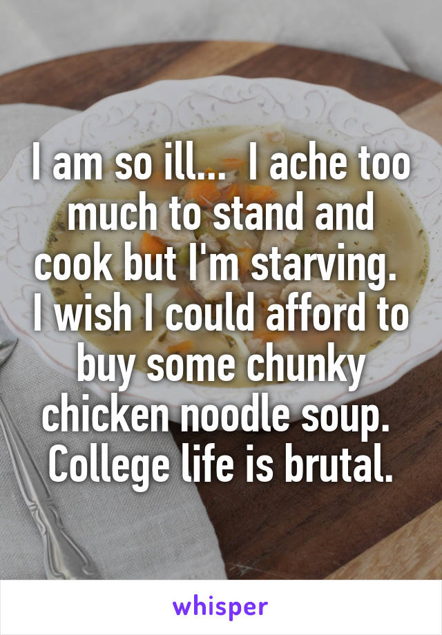 I am so ill...  I ache too much to stand and cook but I'm starving.  I wish I could afford to buy some chunky chicken noodle soup.  College life is brutal.