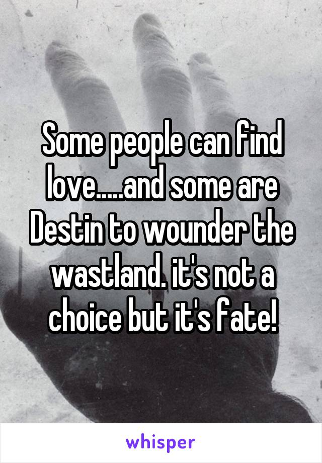 Some people can find love.....and some are Destin to wounder the wastland. it's not a choice but it's fate!