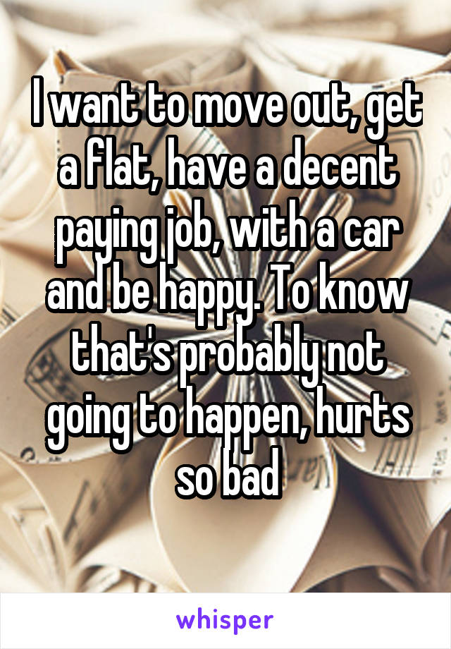 I want to move out, get a flat, have a decent paying job, with a car and be happy. To know that's probably not going to happen, hurts so bad