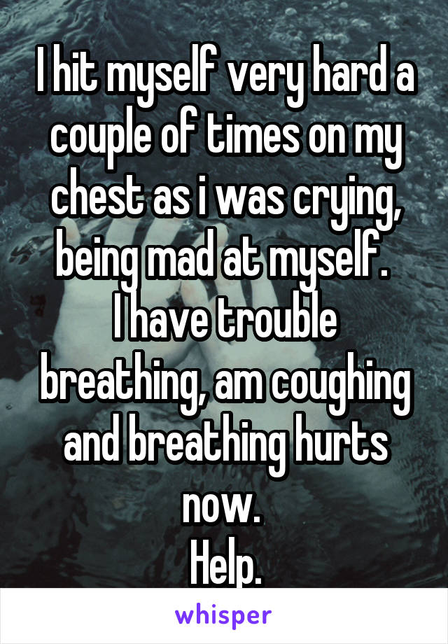 I hit myself very hard a couple of times on my chest as i was crying, being mad at myself.  I have trouble breathing, am coughing and breathing hurts now.  Help.