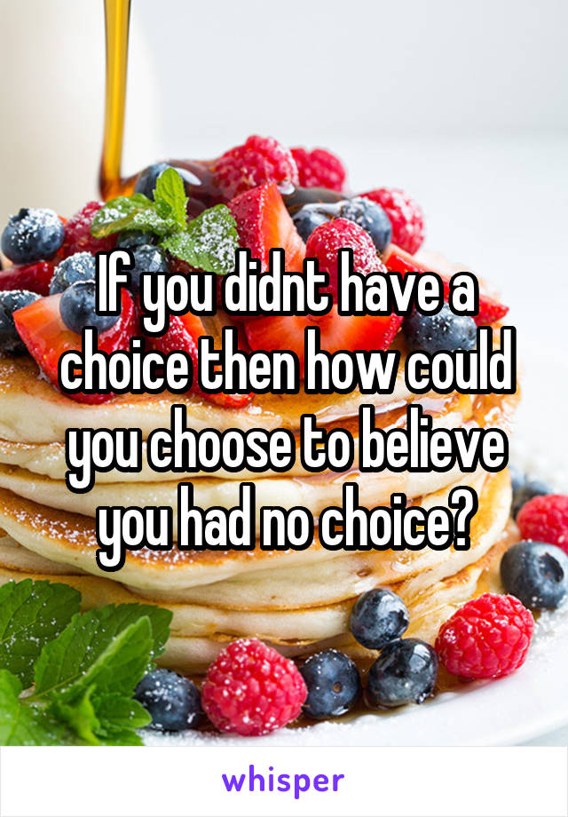 If you didnt have a choice then how could you choose to believe you had no choice?
